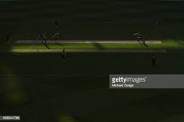 Kyle Abbott of South Africa bowls to Shane Watson of Australia during game four of the One Day International series between Australia and South...