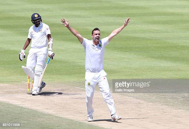 Kyle Abbott of South Africa celebrates during day 4 of the 2nd test between South Africa and Sri Lanka at PPC Newlands on January 05 2107 in Cape...