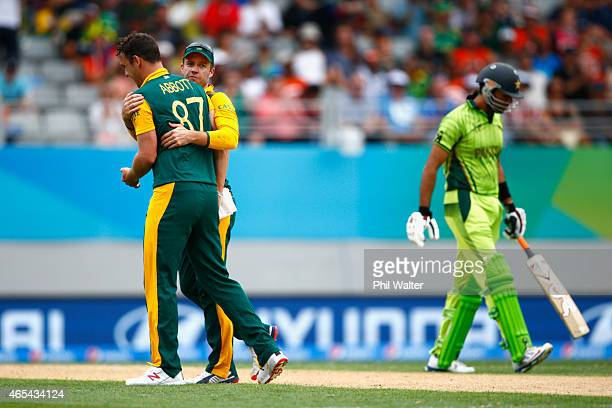 Kyle Abbott of South Africa celebrates his wicket of Sohaib Maqsood of Pakistan during the 2015 ICC Cricket World Cup match between South Africa and...