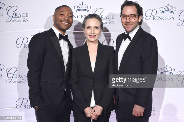 Kyle Abraham Bebe Neuwirth and Sam Gold attend the 2018 Princess Grace Awards Gala at Cipriani 25 Broadway on October 16 2018 in New York City
