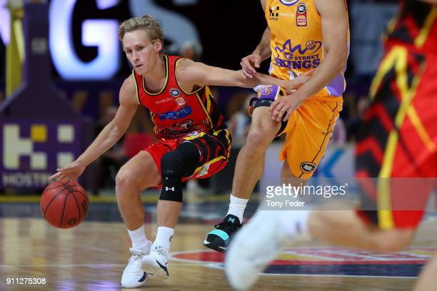 Kyle Adnam of Melbourne runs with the ball during the round 16 NBL match between the Sydney Kings and Melbourne United at Qudos Bank Arena on January...