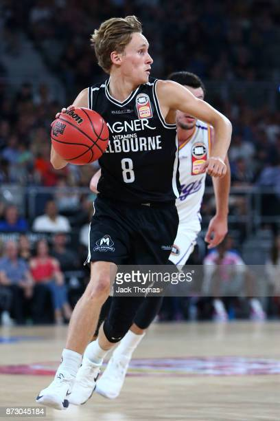 Kyle Adnam of Melbourne United drives during the round six NBL match between Melbourne United and the Sydney Kings at Hisense Arena on November 11...