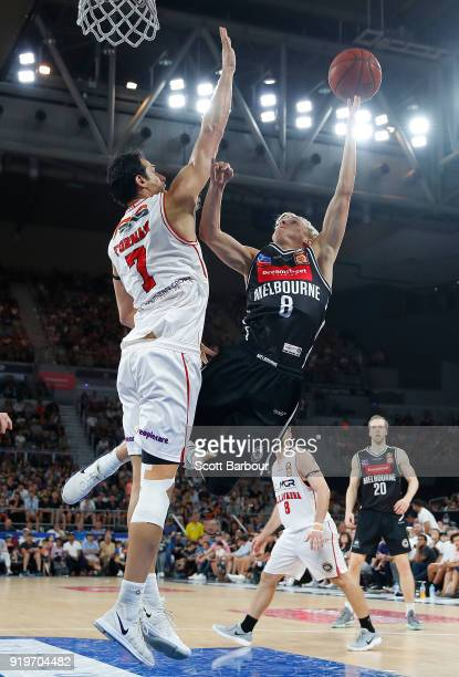 Kyle Adnam of Melbourne United drives to the basket during the round 19 NBL match between Melbourne United and the Illawarra Hawks at Hisense Arena...