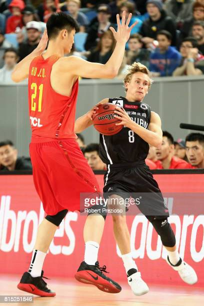 Kyle Adnam of Melbourne United is fouled during the match between Melbourne United and China at Melbourne Park on July 16 2017 in Melbourne Australia
