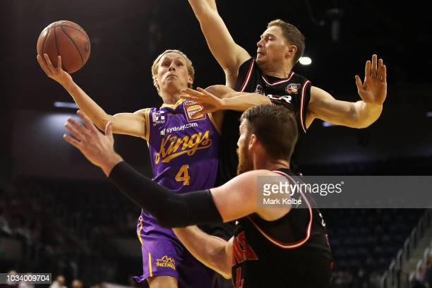 Kyle Adnam of the Kings drives to the basket during the NBL preseason match between the Illawarra Hawks and the Sydney Kings at WIN Entertainment...