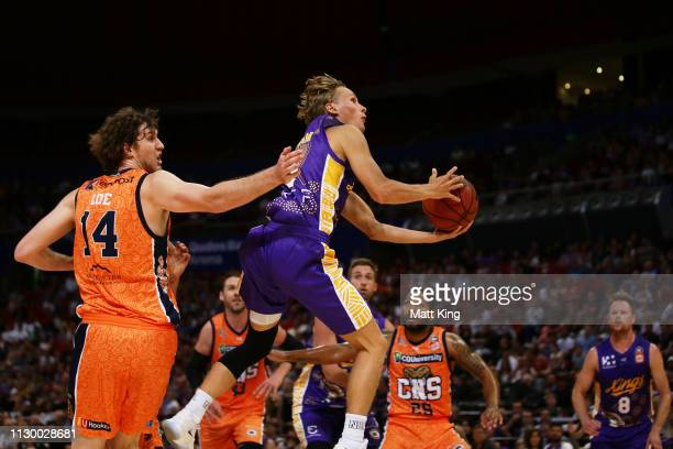 Kyle Adnam of the Kings drives to the basket during the round 18 NBL match between the Sydney Kings and the Cairns Taipans at Qudos Bank Arena on...