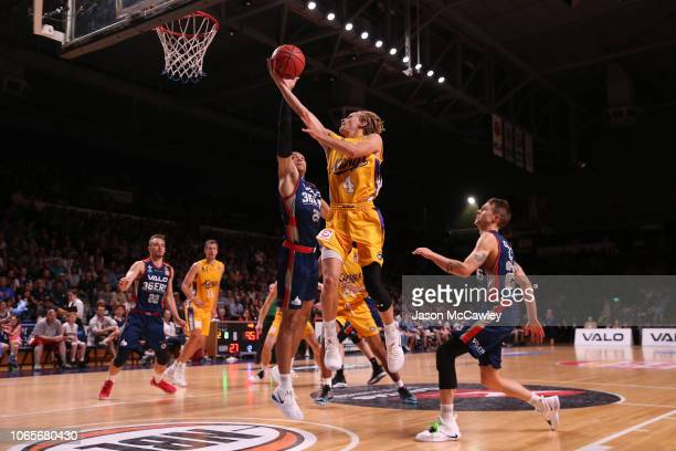 Kyle Adnam of the Kings drives to the basket during the round five NBL match between the Adelaide 36ers and the Sydney Kings at Titanium Security...