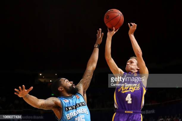 Kyle Adnam of the Kings shoots during the round six NBL match between the Sydney Kings and the New Zealand Breakers at Qudos Bank Arena on November...