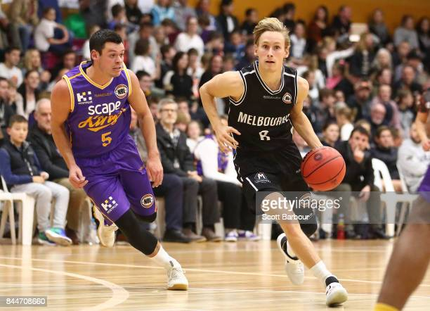 Kyle Adnam of United controls the ball during the 2017 NBL Blitz preseason match between Melbourne United and the Sydney Kings at Traralgon...