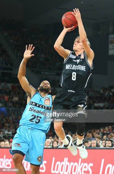 Kyle Adnam of United controls the ball during the round three NBL match between Melbourne United and the New Zealand Breakers at Hisense Arena on...