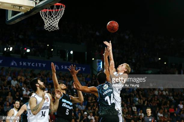 Kyle Adnam of United puts up a shot against Mika Vukona of the Breakers during the round 18 NBL match between the New Zealand Breakers and Melbourne...