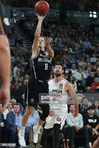 Kyle Adnam of United shoots for the basket during the round eight NBL match between Melbourne United and the Illawarra Hawks at Hisense Arena on...