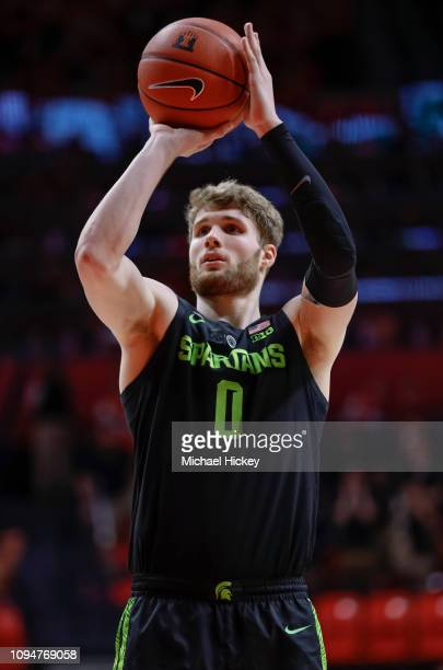 Kyle Ahrens of the Michigan State Spartans shoots a free throw during the game against the Illinois Fighting Illini at State Farm Center on February...
