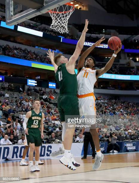 Kyle Alexander of the Tennessee Volunteers goes up for a shot against Loudon Love of the Wright State Raiders in the first half in the first round of...