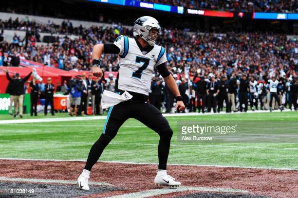 Kyle Allen of Carolina Panthers celebrates during the NFL match between the Carolina Panthers and Tampa Bay Buccaneers at Tottenham Hotspur Stadium...