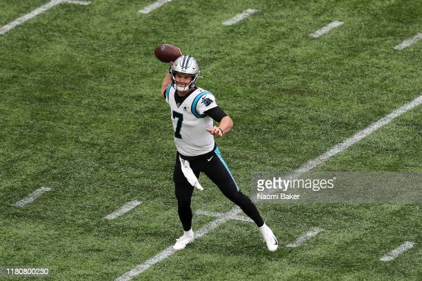 Kyle Allen of Carolina Panthers in action during the NFL game between Carolina Panthers and Tampa Bay Buccaneers at Tottenham Hotspur Stadium on...