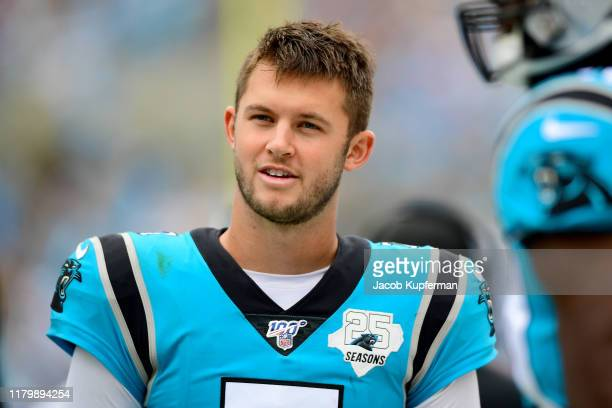 Kyle Allen of the Carolina Panthers during the second half of their game against the Jacksonville Jaguars at Bank of America Stadium on October 06...