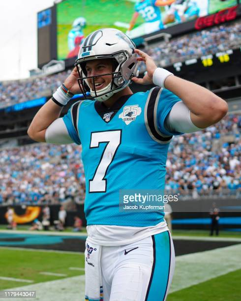 Kyle Allen of the Carolina Panthers happy after a touchdown in the fourth quarter during their game against the Jacksonville Jaguars at Bank of...