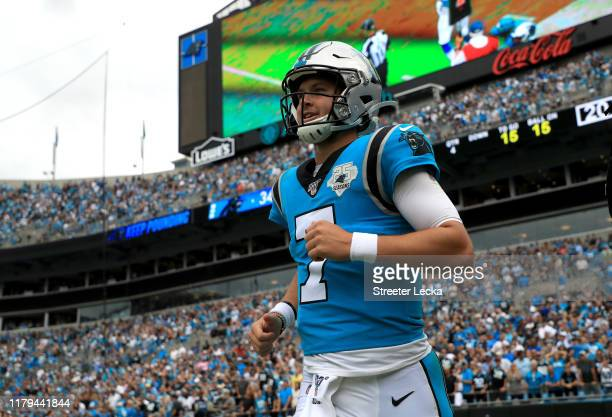 Kyle Allen of the Carolina Panthers reacts after his team scores a touchdown against the Jacksonville Jaguars during their game at Bank of America...