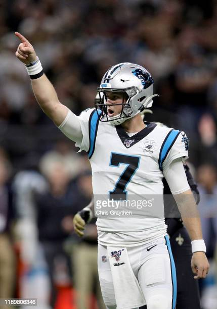 Kyle Allen of the Carolina Panthers reacts after touchdown scored by DJ Moore against the New Orleans Saints during the fourth quarter in the game at...
