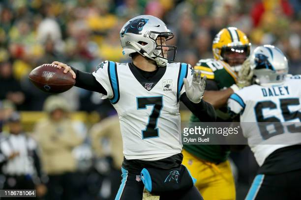 Kyle Allen of the Carolina Panthers throws a pass against the Green Bay Packers during the first quarter in the game at Lambeau Field on November 10...