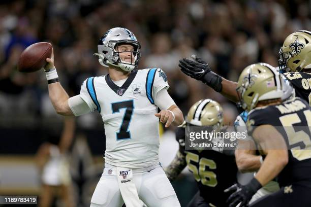 Kyle Allen of the Carolina Panthers throws a pass against the New Orleans Saints during the first quarter in the game at Mercedes Benz Superdome on...