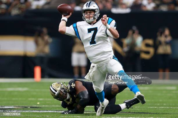 Kyle Allen of the Carolina Panthers throws the ball during the first half against the New Orleans Saints during a NFL game at the MercedesBenz...