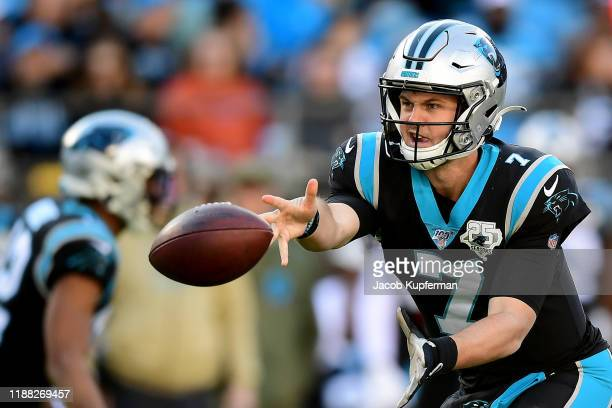 Kyle Allen of the Carolina Panthers throws the ball during the third quarter during their game against the Atlanta Falcons at Bank of America Stadium...