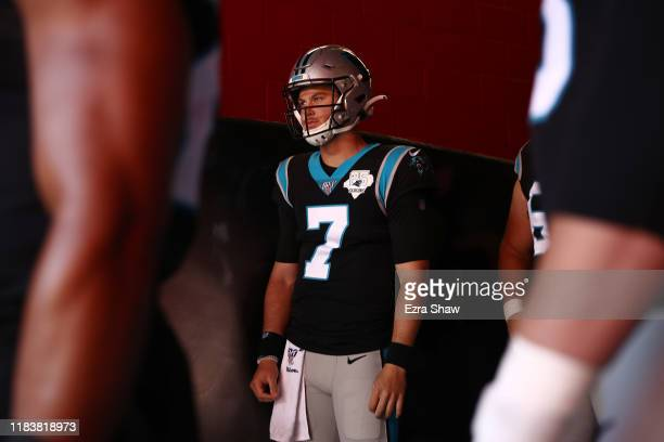 Kyle Allen of the Carolina Panthers waits to take the field against the San Francisco 49ers prior to the game at Levi's Stadium on October 27 2019 in...