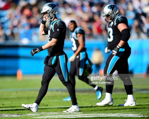 Kyle Allen of the Carolina Panthers walks off the field after an interception during the second quarter during their game against the Atlanta Falcons...