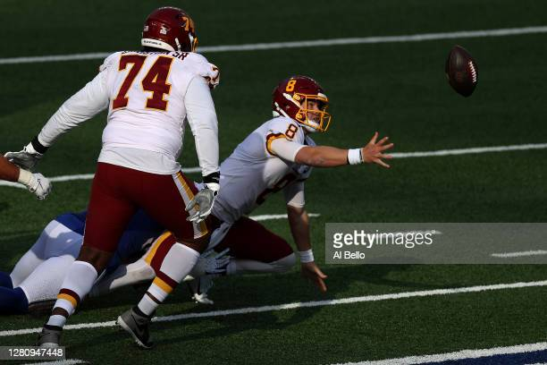 Kyle Allen of the Washington Football Team fumbles the ball to Tae Crowder of the New York Giants who returned the ball for a touchdown to take the...