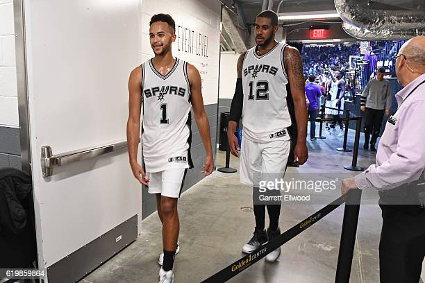 Kyle Anderson and LaMarcus Aldridge of the San Antonio Spurs walk to the locker room after the game against the Sacramento Kings on October 27 2016...