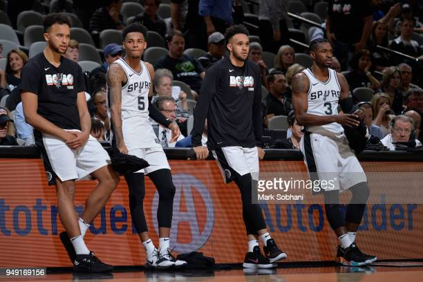 Kyle Anderson Dejounte Murray Derrick White and Brandon Paul of the San Antonio Spurs during Game Three of the Western Conference Quarterfinals...