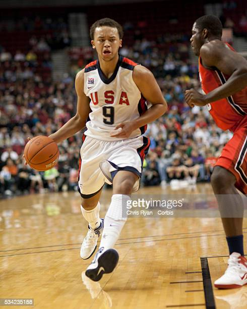 Kyle Anderson drives the ball inside during the 2012 Nike Hoop Summit at Rose Garden arena in Portland Oregon Saturday April 7th 2012 The USA Select...