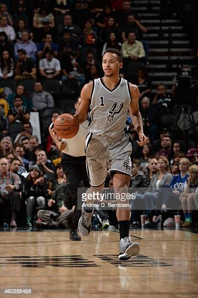 Kyle Anderson of the San Antonio Spurs brings the ball up court against the Los Angeles Lakers on December 12 2014 at the ATT Center in San Antonio...