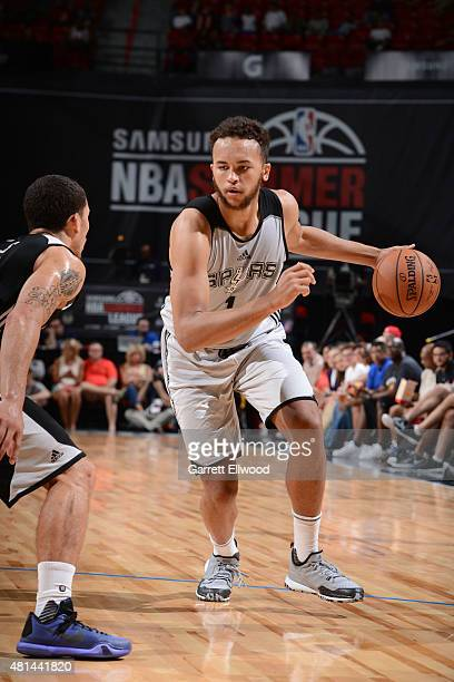 Kyle Anderson of the San Antonio Spurs dribbles the ball against the Phoenix Suns during the Las Vegas Summer League Championship on July 20 2015 at...