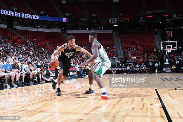 Kyle Anderson of the San Antonio Spurs drives to the basket against the Boston Celtics during the game on July 18 2015 at Thomas And Mack Center Las...