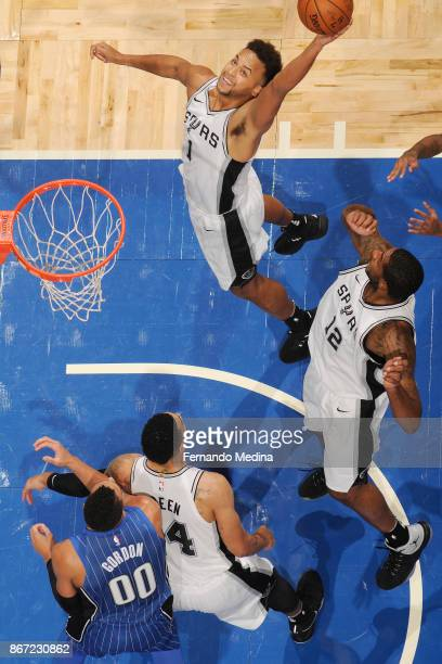 Kyle Anderson of the San Antonio Spurs drives to the basket against the Orlando Magic on October 27 2017 at Amway Center in Orlando Florida NOTE TO...