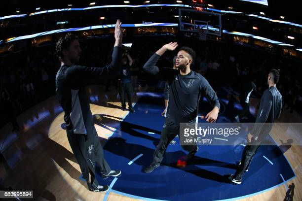 Kyle Anderson of the San Antonio Spurs gets introduced before the game against the Memphis Grizzlies on December 1 2017 at FedExForum in Memphis...
