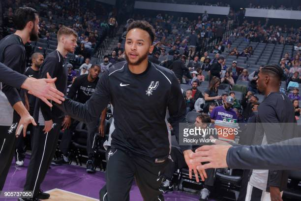 Kyle Anderson of the San Antonio Spurs gets introduced into the starting lineup against the Sacramento Kings on January 8 2018 at Golden 1 Center in...