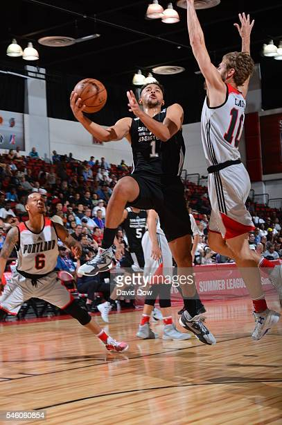 Kyle Anderson of the San Antonio Spurs goes to the basket against the Portland Trail Blazers during the 2016 NBA Las Vegas Summer League game on July...