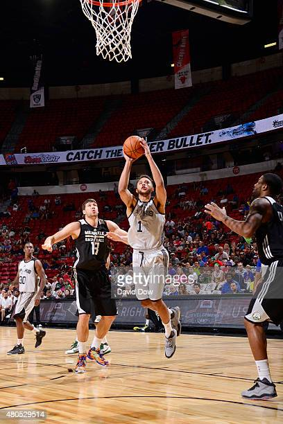 Kyle Anderson of the San Antonio Spurs goes up for a shot against the Milwaukee Bucks on July 12 2015 at the Cox Pavilion in Las Vegas Nevada NOTE TO...
