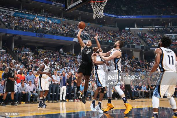 Kyle Anderson of the San Antonio Spurs goes up for a shot against the Memphis Grizzlies during Game Three of the Western Conference Quarterfinals of...