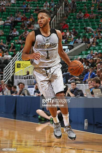 Kyle Anderson of the San Antonio Spurs handles the ball against the Philadelphia 76ers on July 6 2015 at Enerrgy Solutions Arena in Salt Lake City...