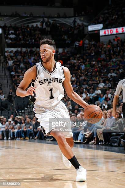 Kyle Anderson of the San Antonio Spurs handles the ball against the Detroit Pistonson March 2 2016 at the ATT Center in San Antonio Texas NOTE TO...