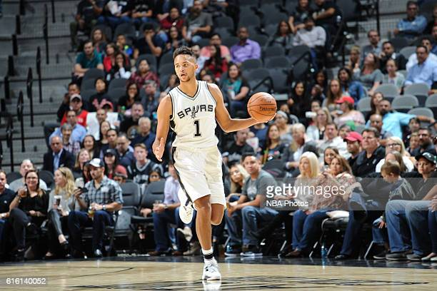 Kyle Anderson of the San Antonio Spurs handles the ball against the Houston Rockets on October 21 2016 at the ATT Center in San Antonio Texas NOTE TO...