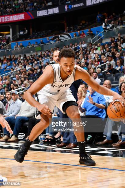 Kyle Anderson of the San Antonio Spurs handles the ball against the Orlando Magic on October 27 2017 at Amway Center in Orlando Florida NOTE TO USER...