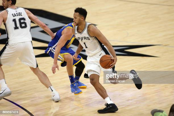Kyle Anderson of the San Antonio Spurs handles the ball against the Golden State Warriors on November 2 2017 at the ATT Center in San Antonio Texas...