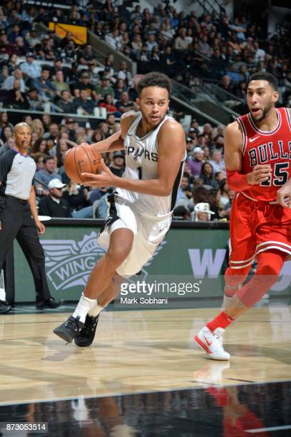 Kyle Anderson of the San Antonio Spurs handles the ball against the Chicago Bulls on November 11 2017 at the ATT Center in San Antonio Texas NOTE TO...