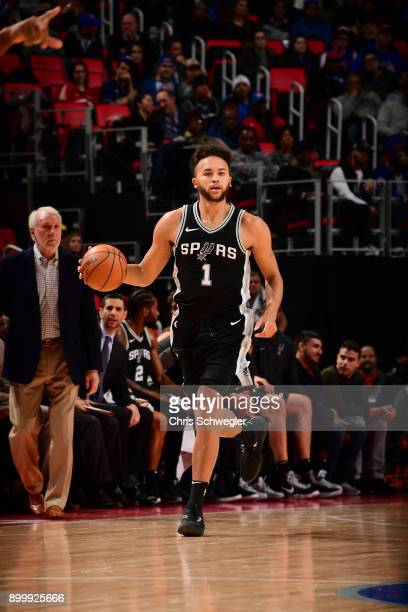 Kyle Anderson of the San Antonio Spurs handles the ball against the Detroit Pistons on December 30 2017 at Little Caesars Arena in Detroit Michigan...